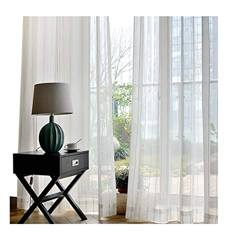 8bf6cf0b93d ASide BSide Sheer Curtains Home Treatment Voile Panels Pure Style Rod  Pockets Regular Stripes Solid For