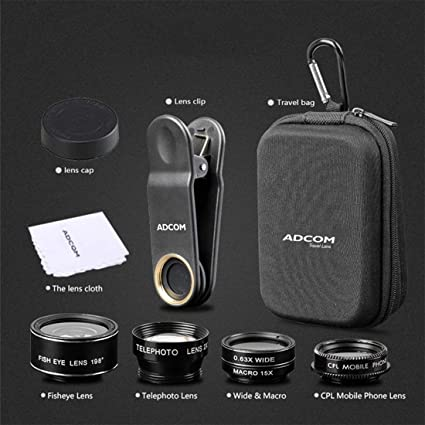 cac51ee98309f6 Adcom 5 in 1 Mobile Phone Camera Lens Kit 0.63x Wide Angle and 15x Macro