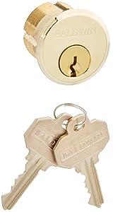 "Baldwin 8322.003 Mortise Lock Cylinder 1-1/8"" Diameter, Lifetime Brass"