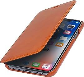 StilGut Housse pour iPhone XS & iPhone X Book Type en Cuir élégant à Ouverture latérale, Cognac