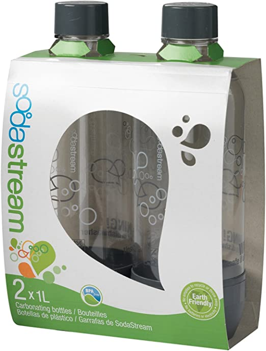 Black Twin Pack Sodastream 1l Carbonating Bottles Fit to Source//Genesis deluxe Makers