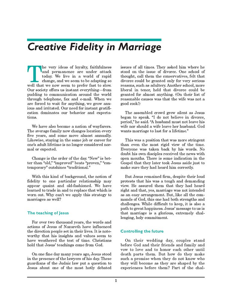 Creative Fidelity: (Pre-Cana Packet) (Marriage Prep Booklets