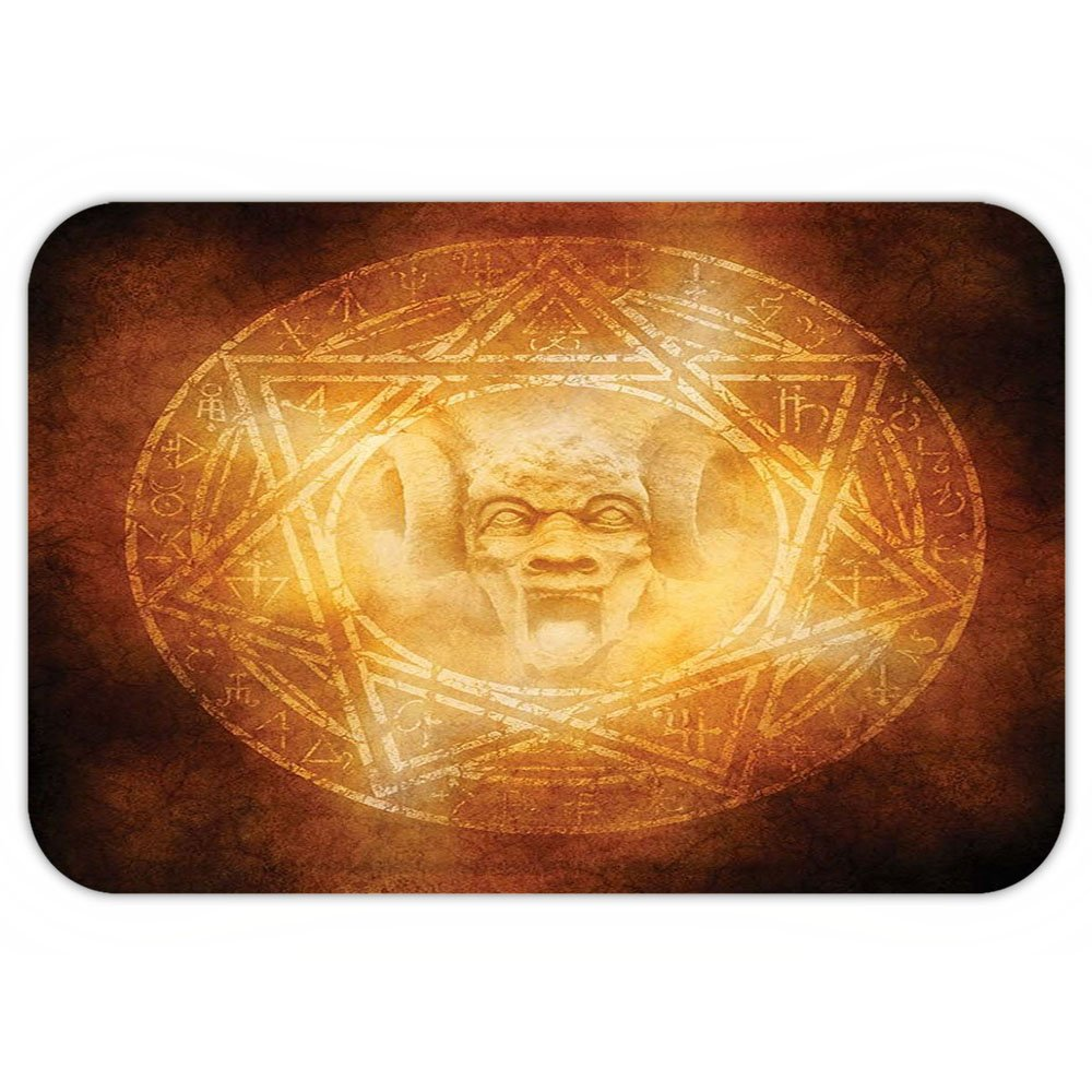 VROSELV Custom Door MatHorror House Decor Demon Trap Symbol Logo Ceremony Creepy Ritual Fantasy Paranormal Design Orange