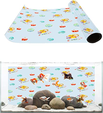 Fantasy Star Aquarium Background Cartoon Sloth Fish Tank Wallpaper Easy to Apply and Remove PVC Sticker Pictures Poster Background Decoration