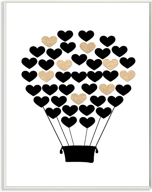 10 x 0.5 x 15 Proudly Made in USA Stupell Home D/écor Graphic Hot Air Balloon White and Pink Wall Plaque Art