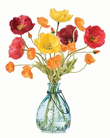 Amazon poppy passion silk flower arrangement home kitchen poppy passion silk flower arrangement mightylinksfo
