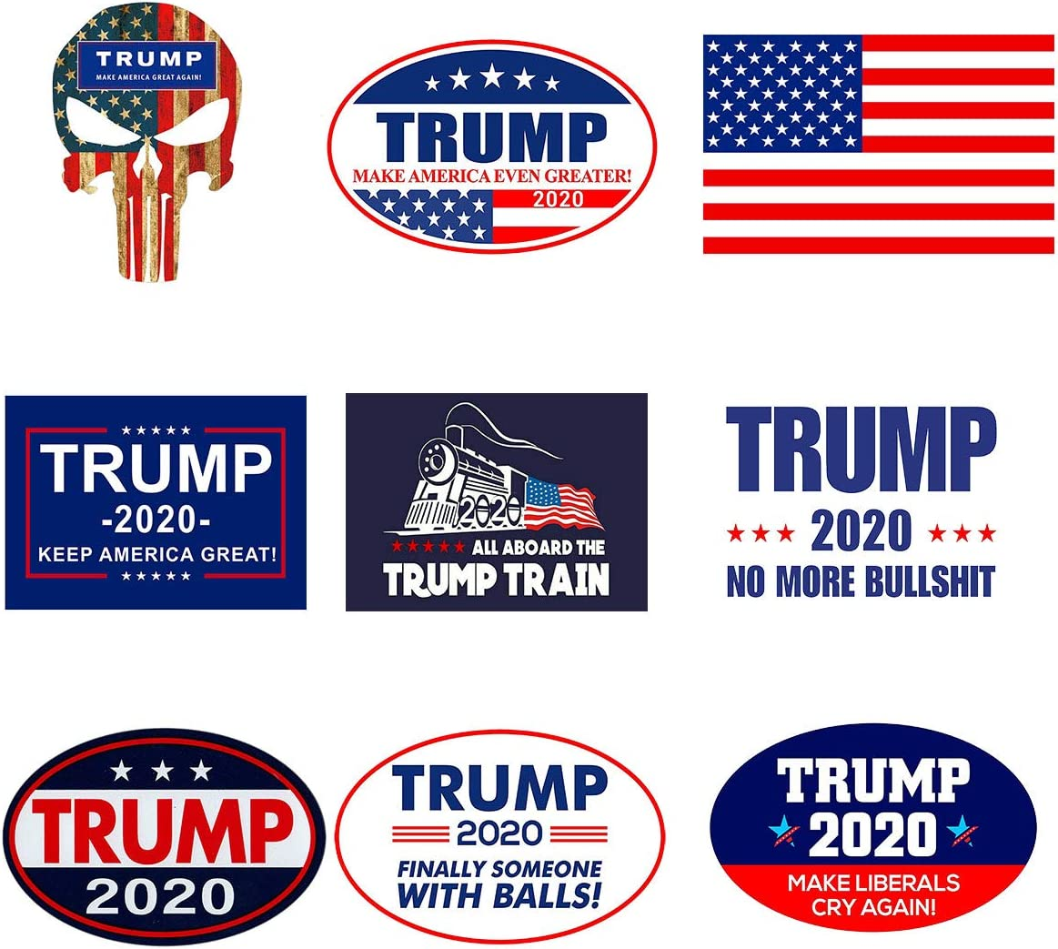GTOTd Stickers Trump 2020 & American Flag Large Size Sticker(9PCS No Duplicates). Bumper Trump 2020 Sticker Patriots Decal Supplies Make Liberals Cry Again/Punisher Trump. Great Gift for Any Patriot.