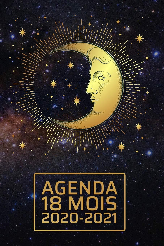 Calendrier Lunaire De Juin 2021 Agenda 18 Mois 2020 2021: Céleste élégant   lune et étoiles