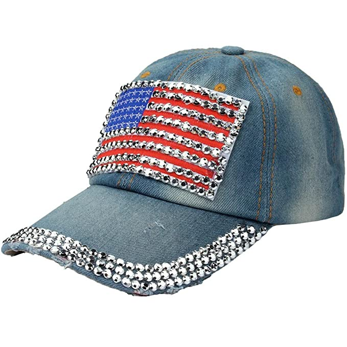 DEELIN Mujeres Americanas Bandera Rhinestone Jeans Denim BéIsbol Ajustable Bling Hat Gorra: Amazon.es: Ropa y accesorios