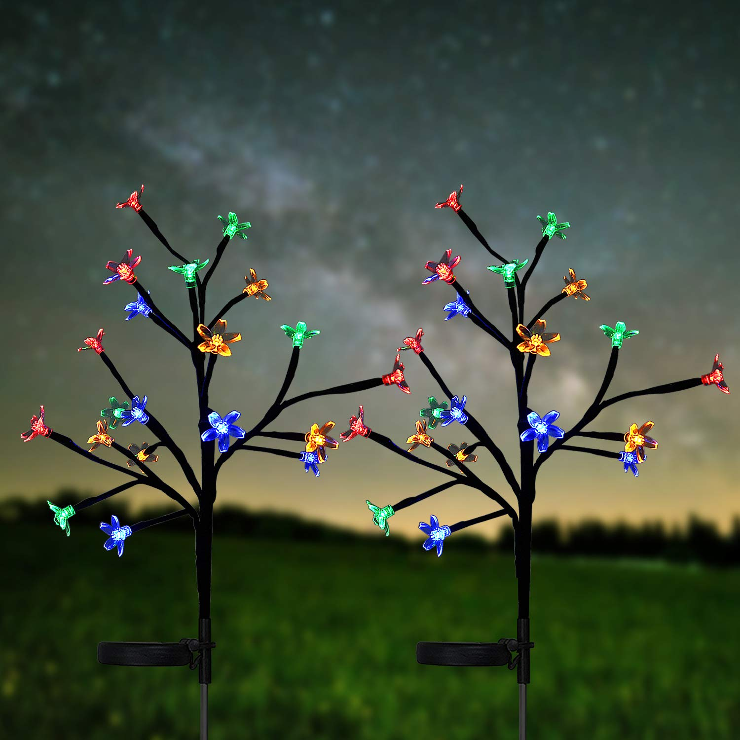 HeyMate Solar Lights Outdoor Decorative- Solar Garden Lights Outdoor Multi Color Cherry Blossoms Christmas Solar Lights for Yard,Lawn,Pathway,Backyard,Christmas,Party (2 Pack) by HeyMate