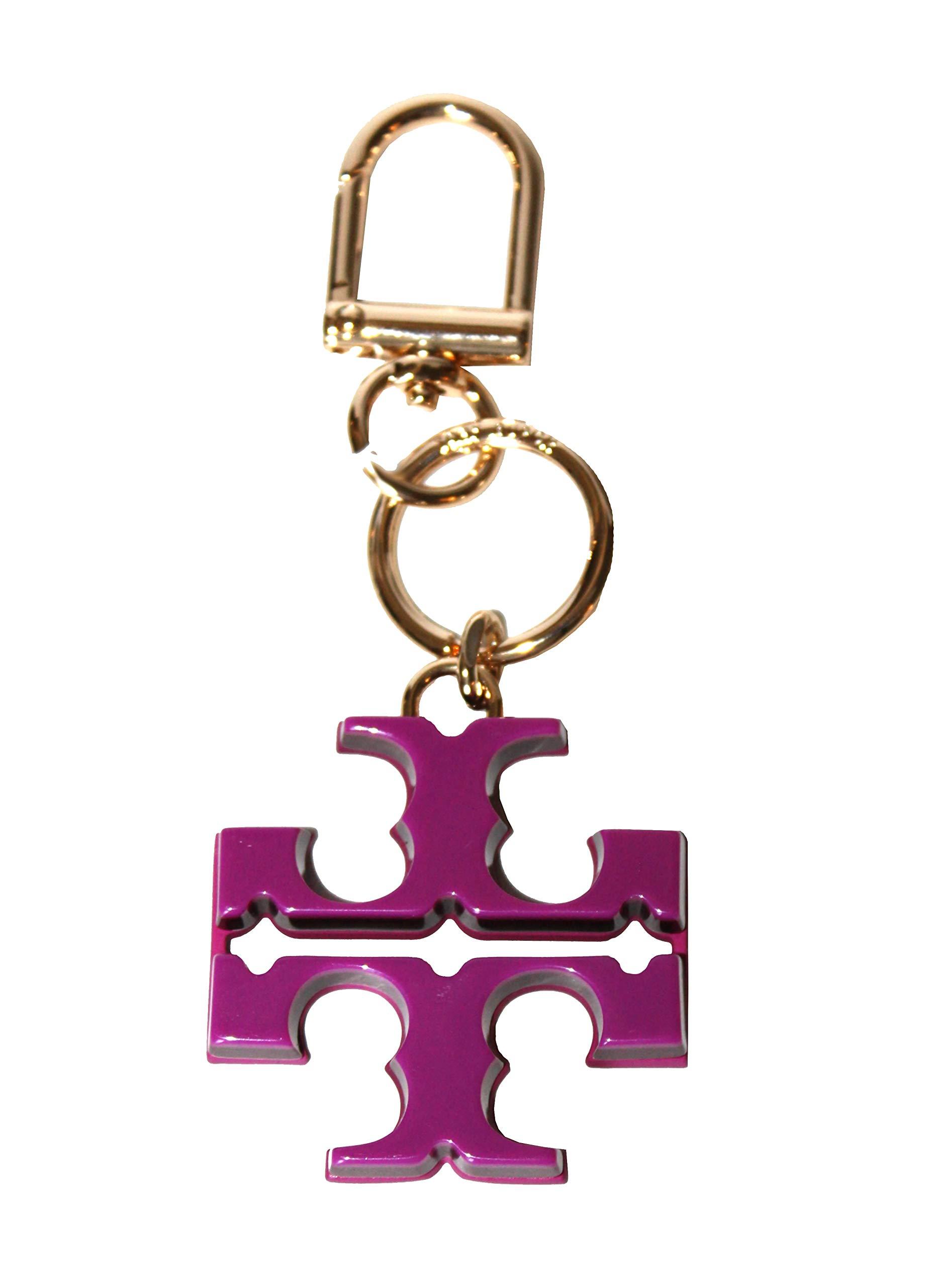 Tory Burch Resin T Logo Keyfob Key chain 52913 (Party Fuschia/Imperial Garnet)