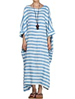 Mordenmiss Women's New Round Collar Stripes Plus Size Dresses