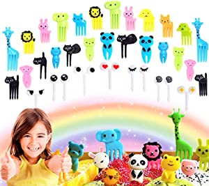 Set of 36 JeVenis Cute Animals Food Picks Mini Cartoon Toothpick Fruit Forks for Bento Box Lunch Box Decorative