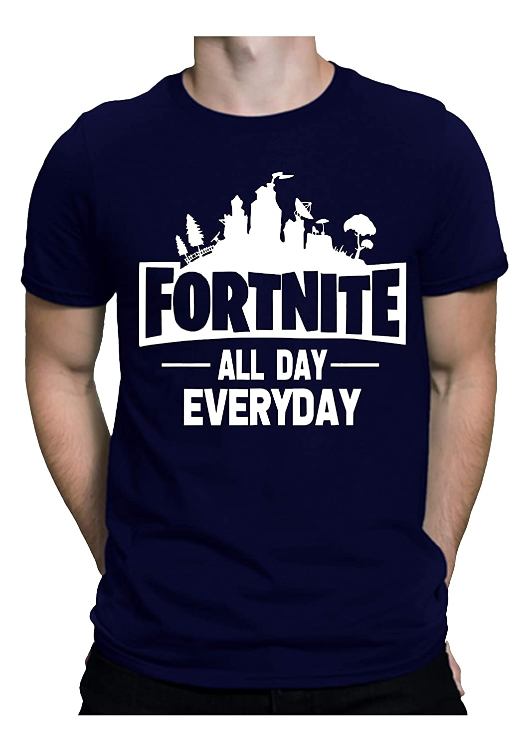 f309347b WowBoss Men's Cotton Graphic Printed Half Sleeve T-Shirt - Fortnite All Day  Everyday: Amazon.in: Clothing & Accessories
