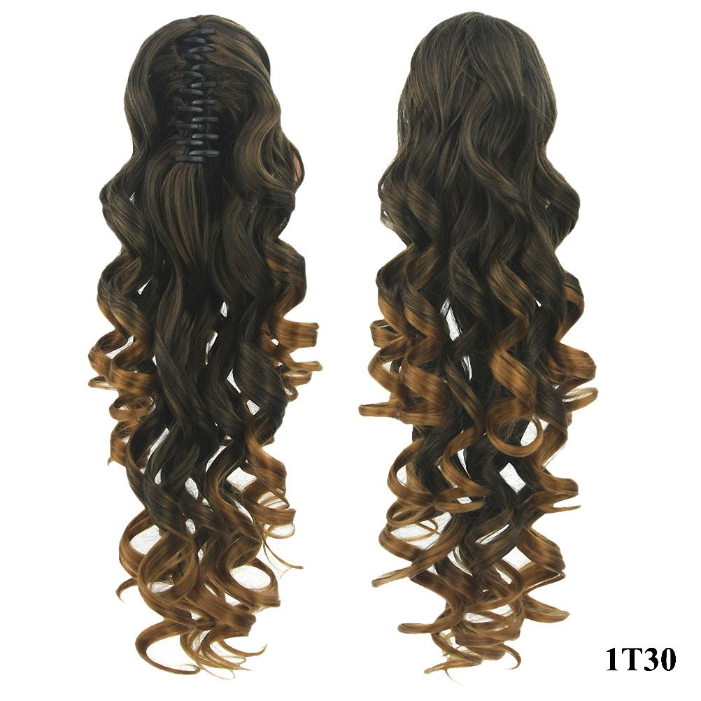 PrettyWit 24 Pony Tail Ponytail Hair Extensions Hairpiece Wig Long Messy Curls Wavy Clip In/On Claw-Black to Light Auburn 1T30 APClC063-1T30