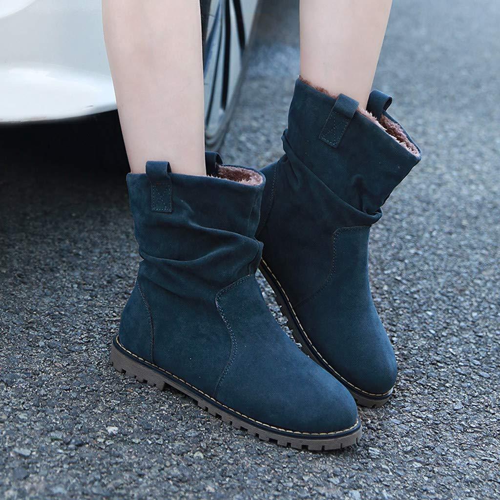 MrTom Botas de Nieve Mujer Invierno Forro Calentar Plataforma Botines Mujer Ante Romano con Cu/ña Bot/ín Corto Tacon Ancho Calzado de Trabajo Altas Lluvia Zapatos Casual Al Aire Libre