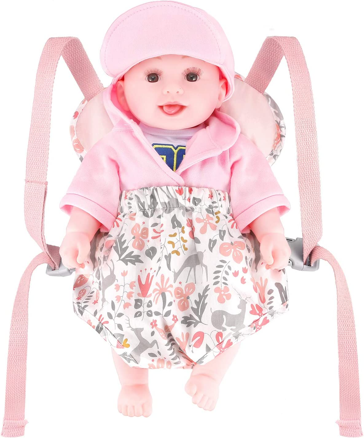 Pink GAGAKU Baby Doll Carrier Stuffed Toy Carrier Doll Accessories for Kids Reindeer
