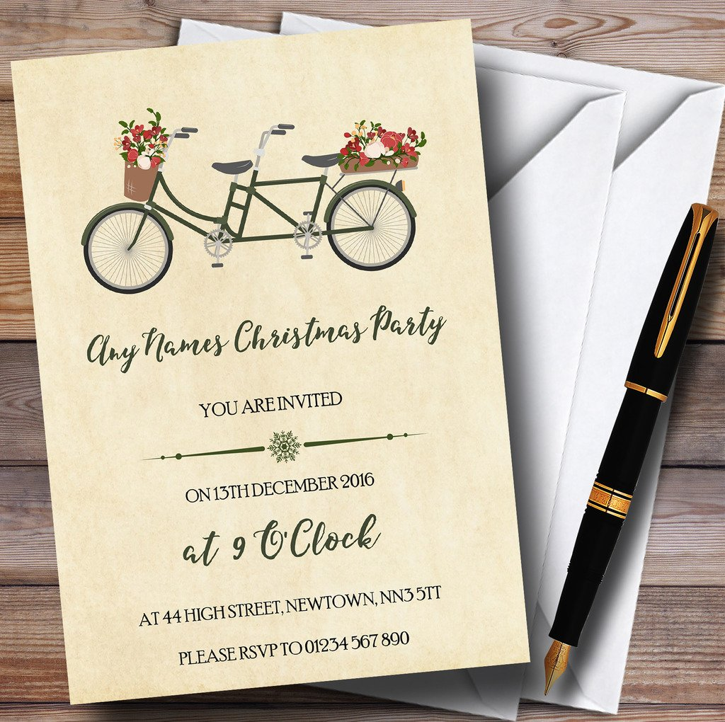 ventas en linea 150 Invitations Pretty Vintage para bicicleta de de de Navidad personalizado invitaciones de fiesta  Web oficial