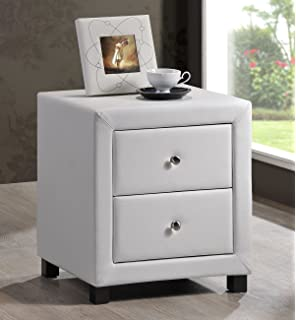Time living monaco two drawer white faux leather bedside cabinet new white faux leather 2 drawer bedside cabinet table free delivery watchthetrailerfo
