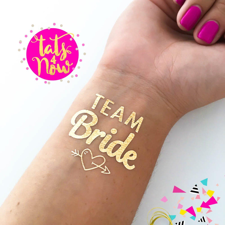 Amazon Com Bachelorette Party Tattoos By Tatsnow Set Of  Gold Metallic Tattoos Team Bride Bachelorette Party Temporary Tattoos Fake Tattoos