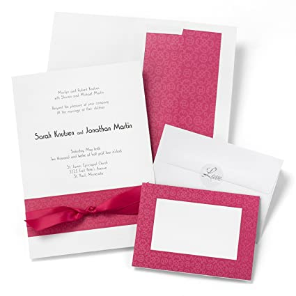 Amazon.com: Hortense B. Hewitt Wedding Accessories Print Yourself Invitation Kit, Fuchsia Band, Pack of 50: Home & Kitchen