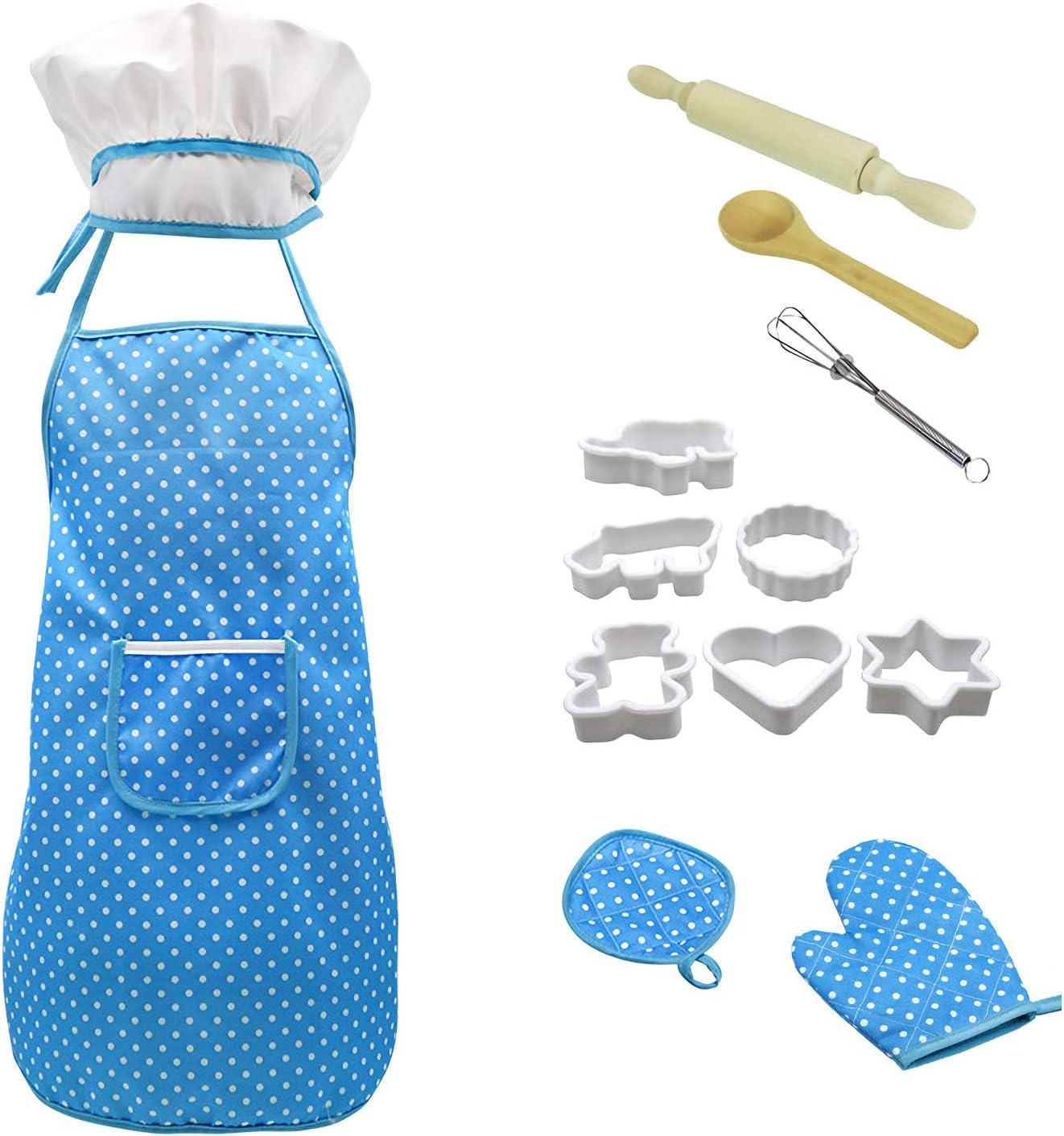 13 PCS 키즈 요리 및 베이킹 세트 키즈 요리사 세트는 어린 소녀 요리사 모자 미트 롤링 핀 숟가락 계란 비터 플라스틱 금형 에이프런을 포함 3-10 블루 아이 소녀 소년 에대한