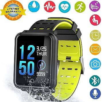 Reloj inteligente, monitor de ritmo cardíaco, pulsera inteligente de actividad con podómetro Bluetooth,
