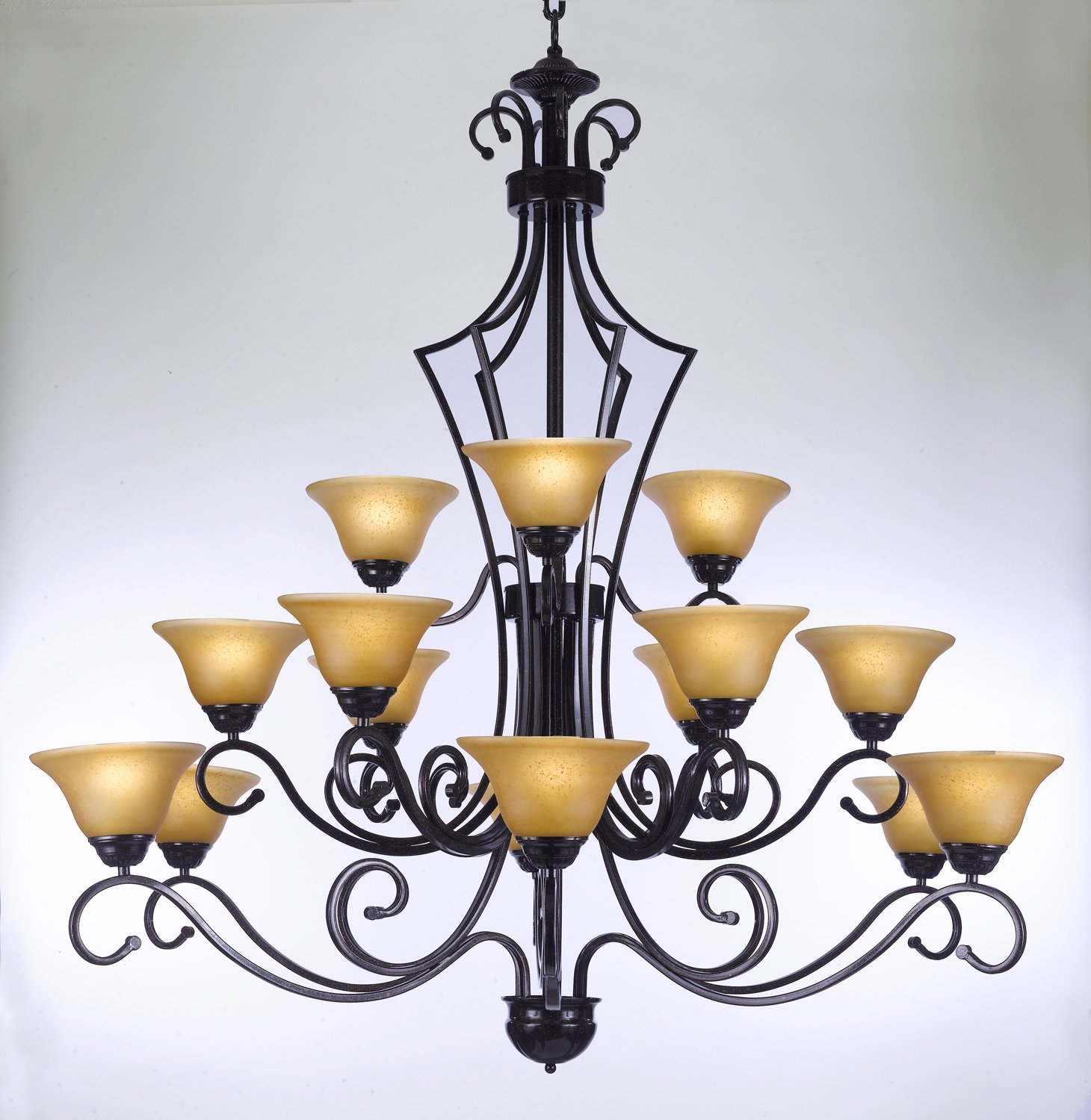 "Foyer Entryway Wrought Iron Chandelier H51"" X W49"