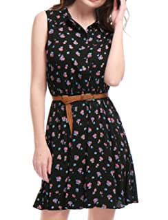 95b304a320 Allegra K Women s Half Placket Above Knee Printed Belted Sleeveless Dress