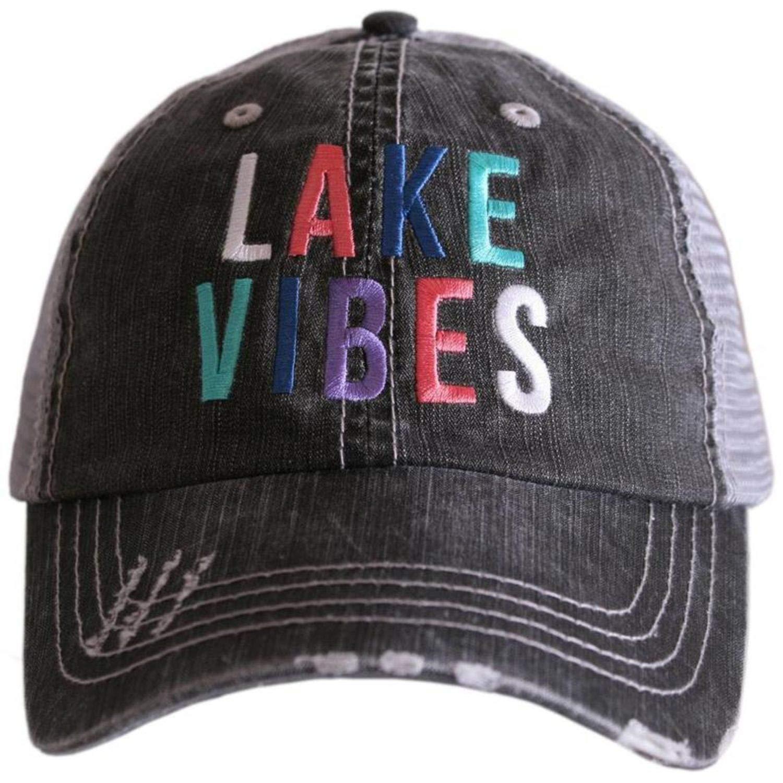 Katydid Womens Lake Vibes Multicolored Embroidered Trucker Hat