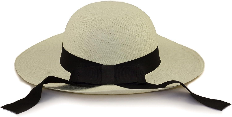 Chapeau Panama pour Femmes blanc avec bandeau noir