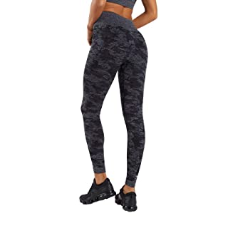 Mimio Yoga Pants for Women Seamless Camo High Waisted Gym Sport Running Workout Leggings (Black, Large)