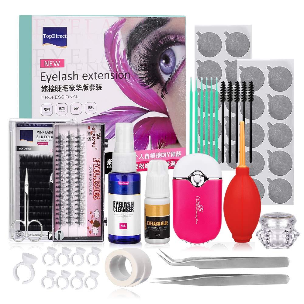15 Pcs Eyelash Extension Kit, TopDirect Professional False Lashes Eyelashes Extension Practice Set Tools Lash Starter Kit Eyelash Grafting Training Tool for Practice Trainning Eye Lashes Graft