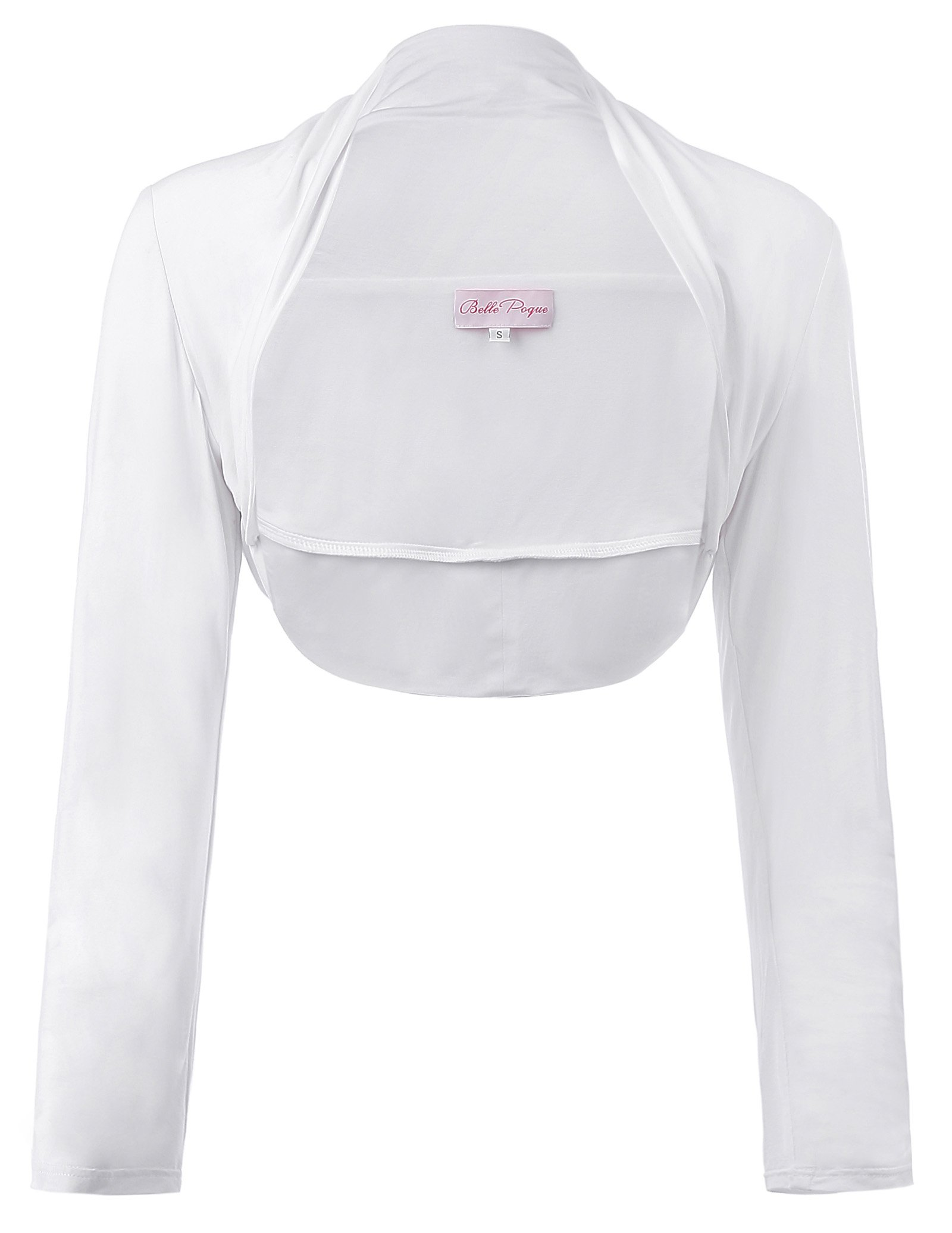 Womens Bolero Jacket With Long Sleeve Open Front White, Small