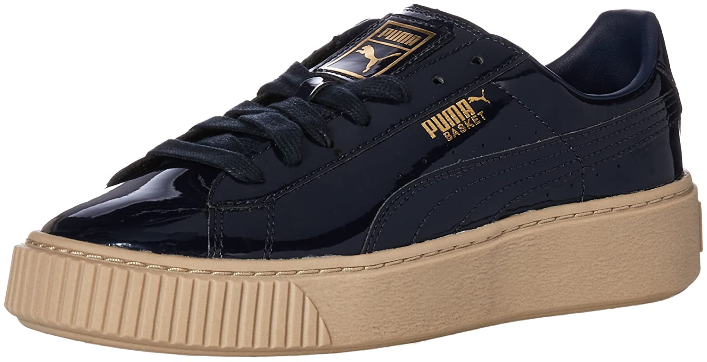 PUMA Women's Basket Platform Patent Wn Sneaker B01MQWOBBU 9.5 M US|Peacoat-peacoat