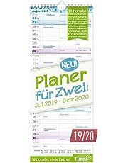 Planer für Zwei 2019/2020 Wandkalender mit 3 Spalten   Paarkalender für 18 Monate: Juli 2019 - Dezember 2020   Wandplaner Maße: 17 x 42 cm, Chäff-Timer inkl. Ferientermine + viele Zusatzinfos