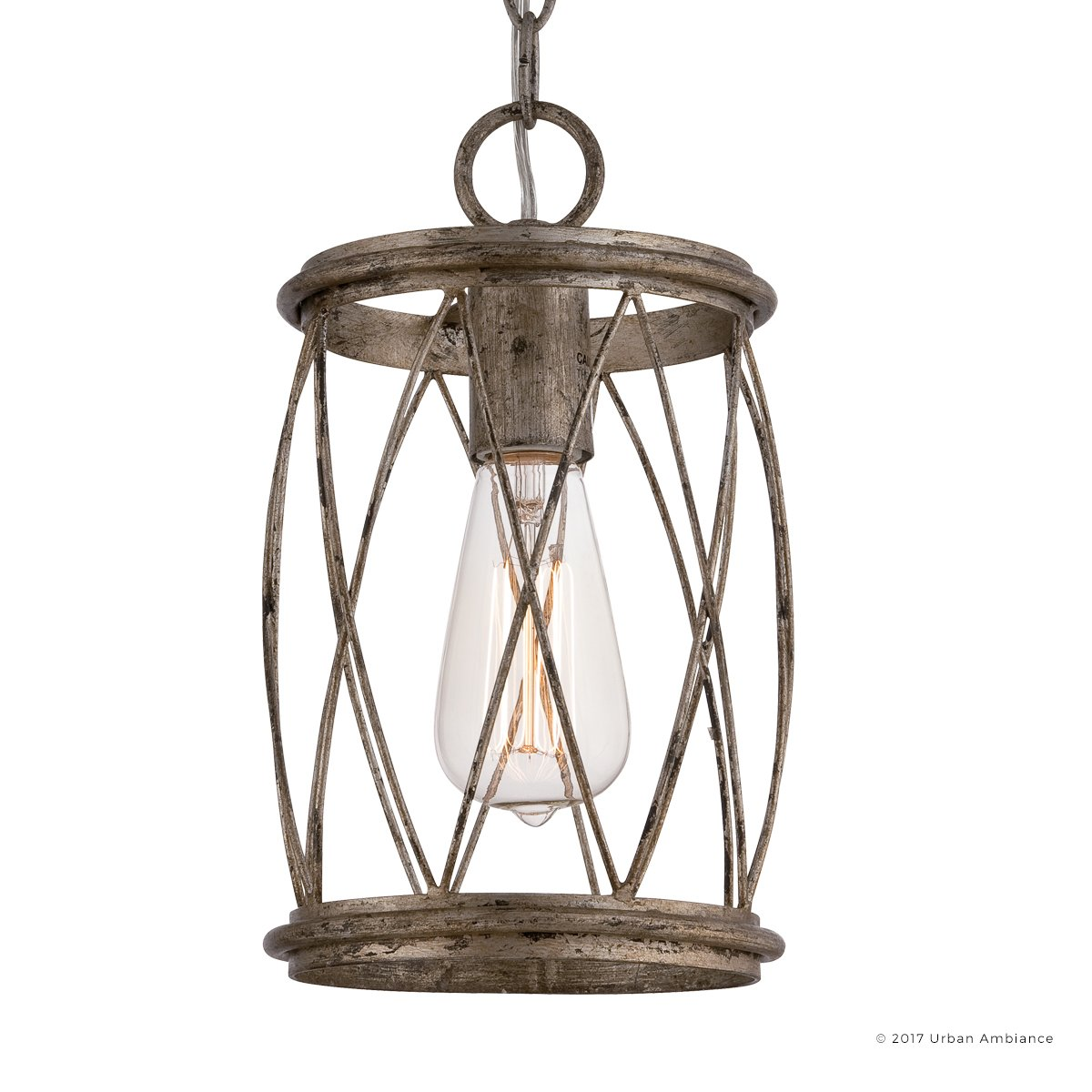 Luxury French Country Pendant Light, Small Size: 11.25''H x 6.5''W, with Shabby Chic Style Elements, Gold Accented Silver Leaf Finish and Metal Lattice, Includes Edison Bulb, UQL2264 by Urban Ambiance