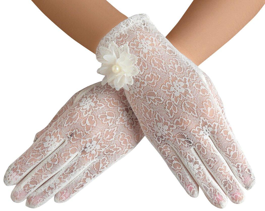 Guantes de encaje sol de verano la mujer mantiene guante guantes de conducir (White)