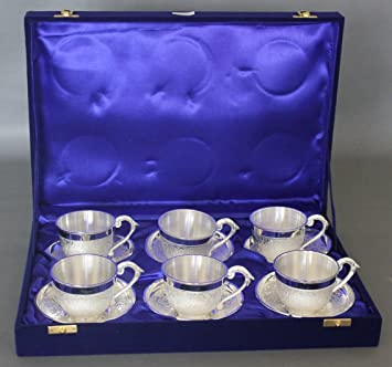 Buy DEKOR WORLD Silver Plated Tea Cup Plate Set- 6 Pcs Set (CUP6X8 /PLATE12X12X2.5 / BOX-28X41X8Silver) Online at Low Prices in India - Amazon.in & Buy DEKOR WORLD Silver Plated Tea Cup Plate Set- 6 Pcs Set (CUP:6X8 ...