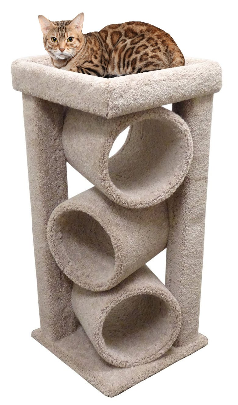 Modern Cat Tower Furniture for Large Cats, Beige Carpet by CozyCatFurniture