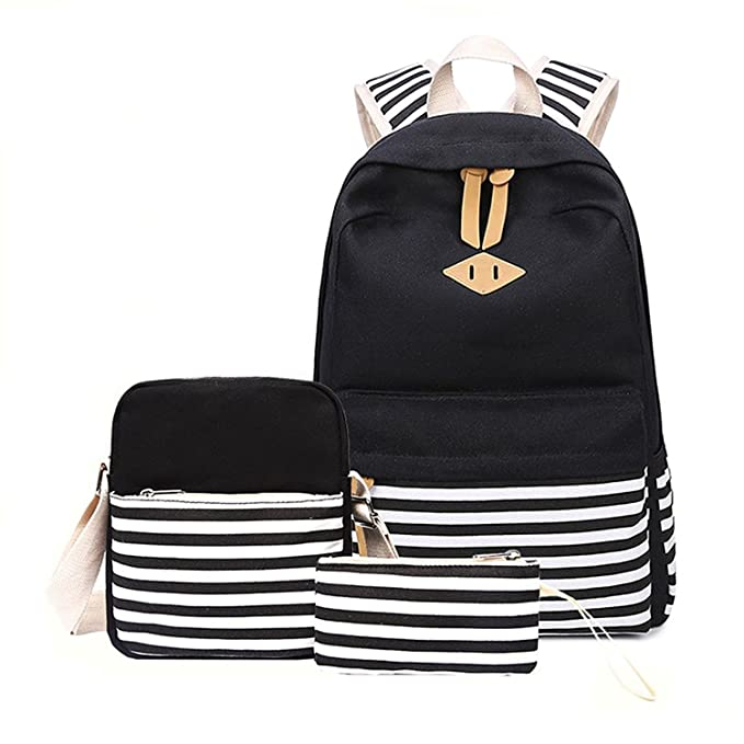 Amazon.com: Casual lona mochila de rayas Cute Teen Mochilas ...