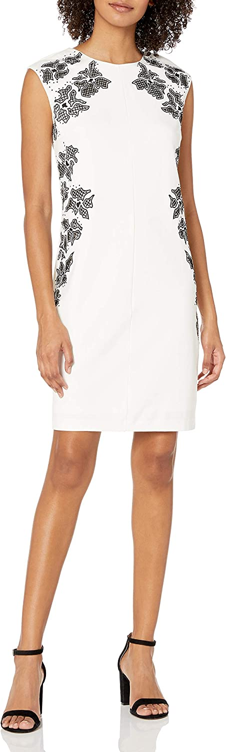 laundry BY SHELLI SEGAL Womens Embroidered Cap-Sleeve Sheath Dress