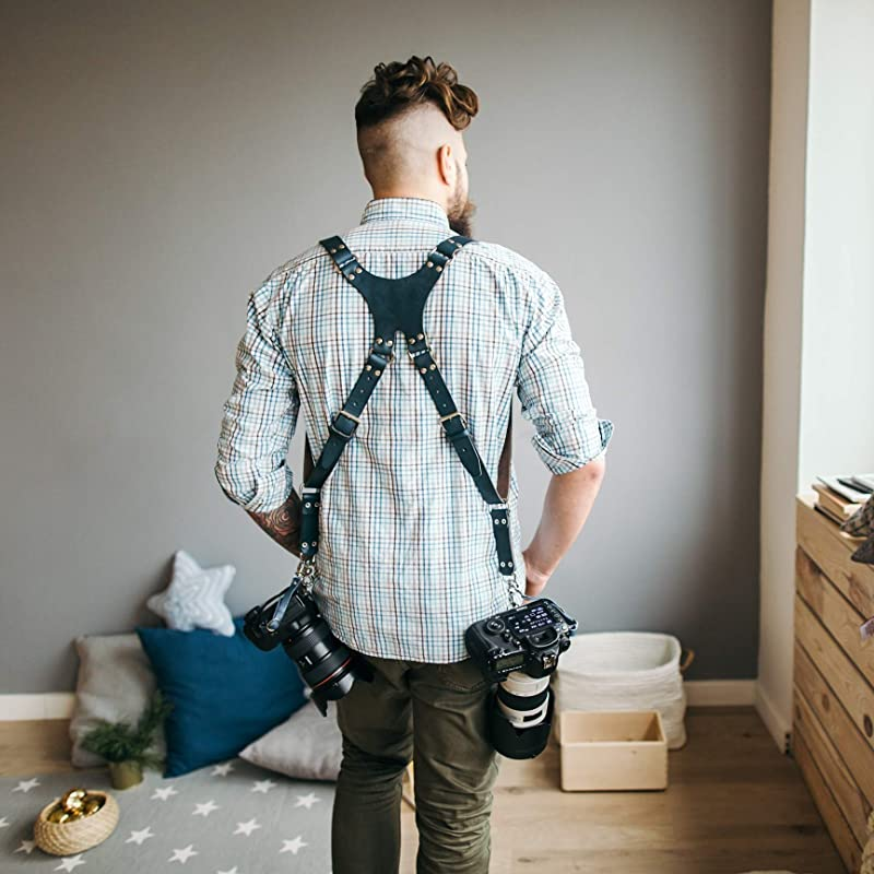 Natural Leather Camera Harness Dual Multi Camera Leather Harness Camera Shoulder Strap Handmade in England Gift Boxed