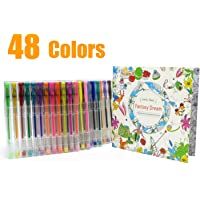 Glitter Gel Pens with Coloring Book Set, 48 Colors Markers Fine Point Colored Pens for Adult Coloring Book Doodling…