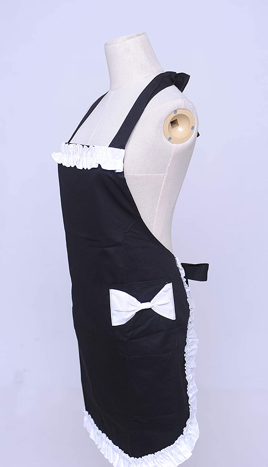 with Fills and Two Pockets Cooking Apron,High-end Lovely Fashion Lady Apron Restaurant Baking Cafe ,easy to wash Kitchen Home Chef Black Gardening etc 3 Colors 100/% Cotton,for Women