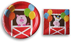 Farm Animals Themed Party Supply Kit - Beverage Napkins and Dessert Plates