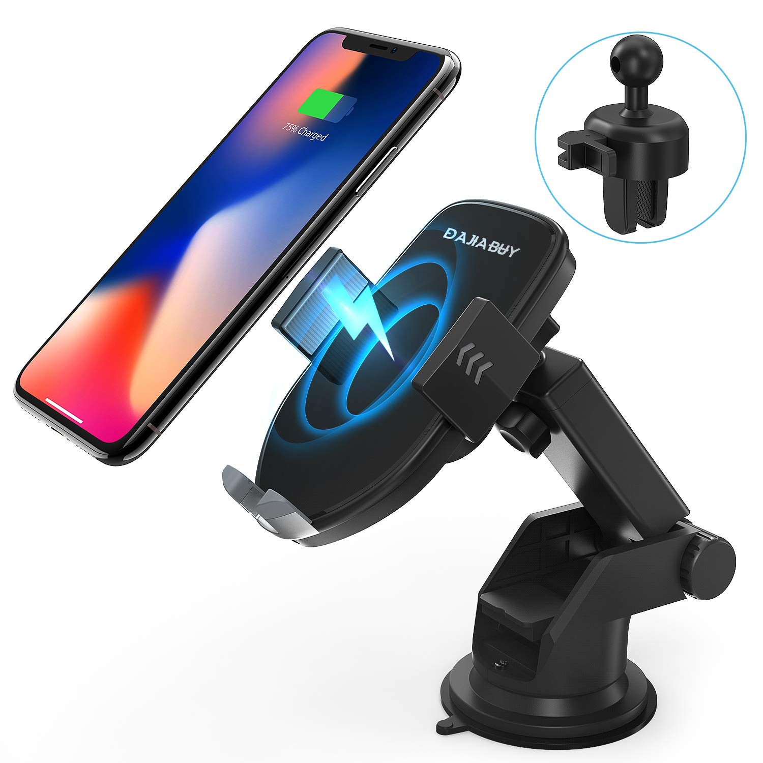 Wireless Car Charger Mount, DAJIABUY Automatic Qi Certified Fast Charging Car Phone Holder for iPhone Xs/Xs Max/XR/X / 8/8 Plus, Samsung Galaxy Note 9/ S9/ S9+/ S8/ S8+ (Black) by DAJIABUY (Image #1)