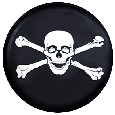 Kenkesh Skull Spare Tire Cover for RV, Jeep Wranglers, Boat Trailer. Choose from Multiple Designs with Flag & Crossbones. Rugged Weather Resistant Leather Grain Vinyl (XL(17 INCH), Skull 4): Automotive
