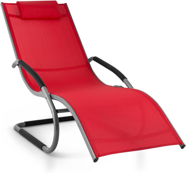 Blumfeldt Sunwave Hamaca de jardín (Tumbona ergonómica, Estructura Estable Aluminio, Almohada extraíble, Tejido sintético Resistente, Patas Redondeadas para balanceo, Mecedora roja)