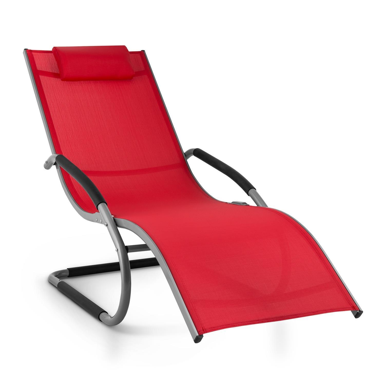 Blumfeldt Sunwave Sedia Sdraio Da Giardino Reclinabile Relax ergonomica In Alluminio Struttira in acciaio tubolare effetto dondolo tessuto in plastica